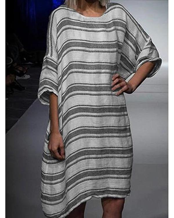 Casual Crew Neck Striped Tops Tunic Maxi Women Dresses