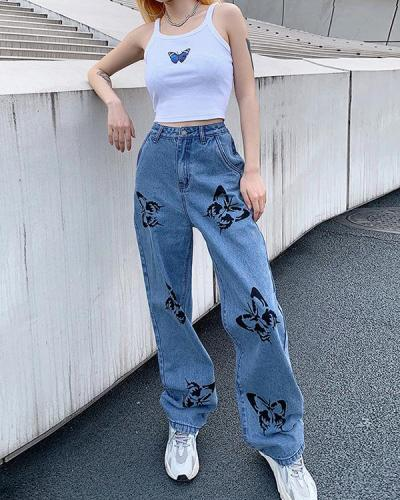Butterfly Print Jeans