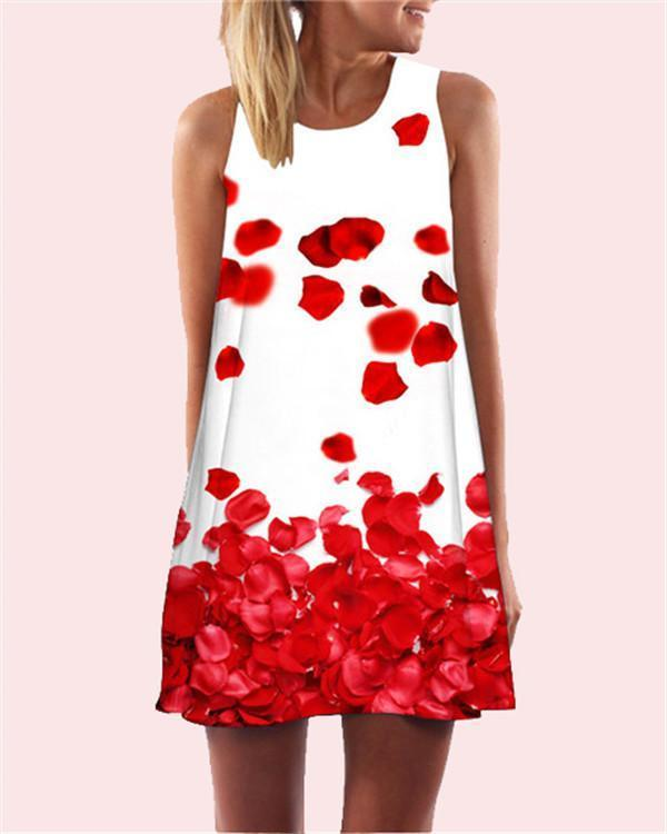 Flower Printed Sleeveless Beach Dress