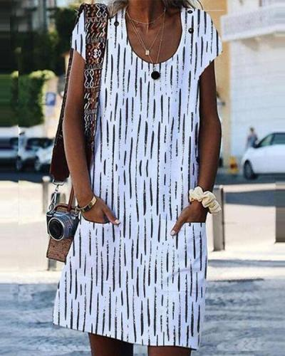 Women Printed U Neck Short Sleeve Dress with Pockets