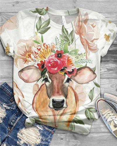 Cute Animal Printed Short Sleeve Crew Neck Shirts & Tops