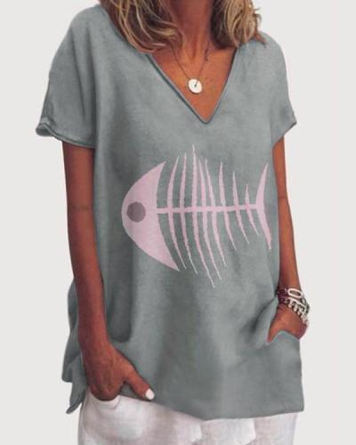 Women Fish Printed  Holiday V Neck Short Sleeve Casual Blouse