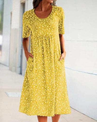 Casual Floral Print Short Sleeves Pockets Midi Dress