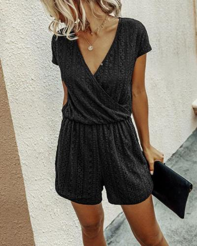 Lace V-Neck Romper Jumpsuits
