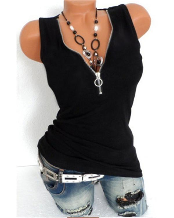 Women's Basic Solid Colored Zipper V Neck Cotton Tank Top