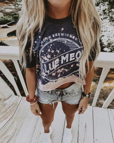 Casual Daily Ink Spot Letter Printed Short Tops