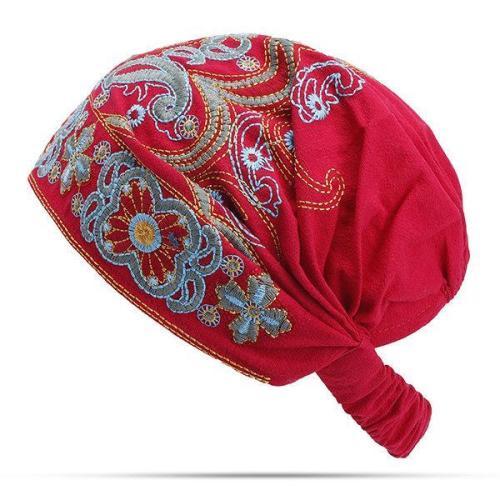 EUCoo Femmes Inde Musulmane R/étro Floral Coton Serviette Cap Brim Turban Baseball Hat Wrap