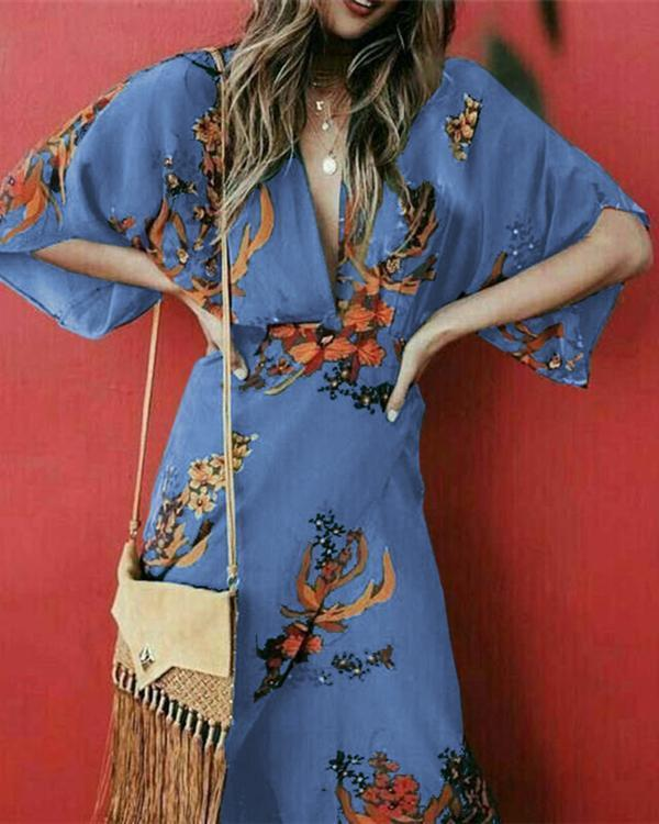 Bohemian V Neck Holiday Split Daily Fashion Maxi Dresses