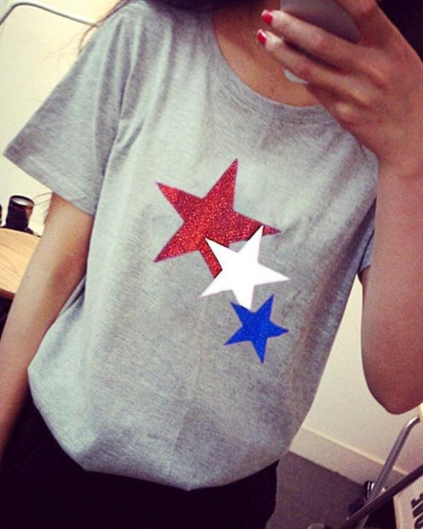 Casual Crew Neck Star Printed Short Sleeve Blouses Tops