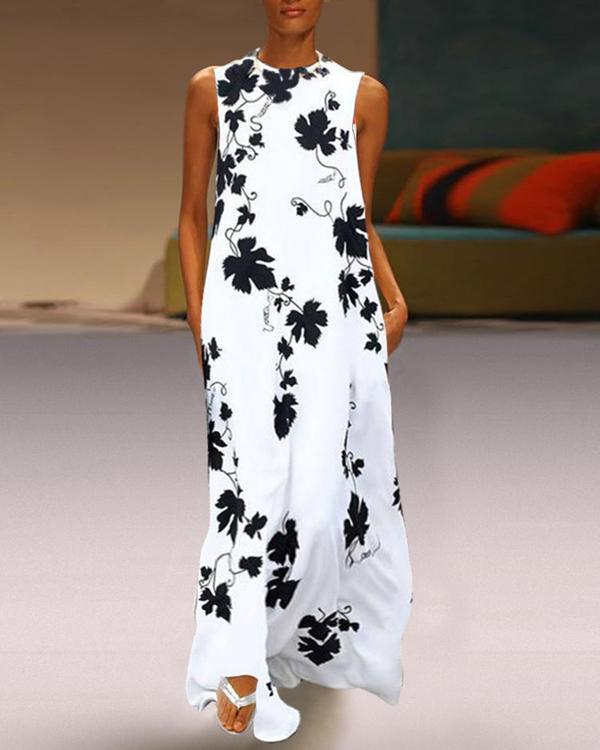 Round Neck Maple Leaf Printed Sleeveless Maxi Dress