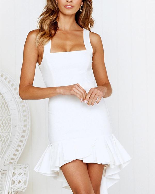Fashion Sleeveless U Neck Solid Open Back Dresses