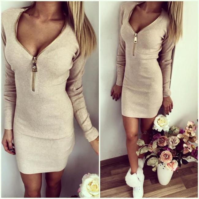 Front Zip Design V neck Long Sleeves Dress
