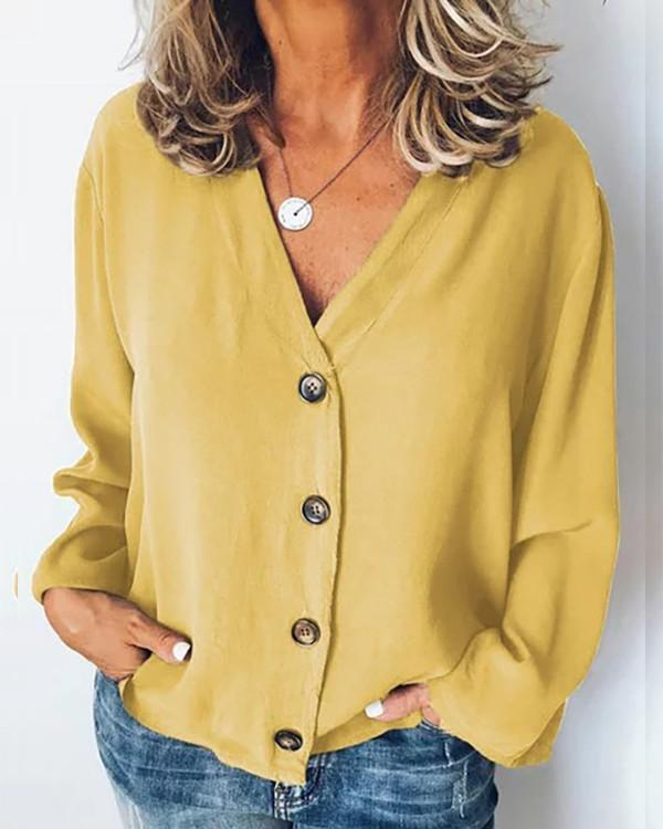 Casual Button Solid Color Women Blouse