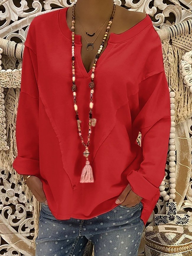 Plus Size Solid Casual V-Neck Long Sleeve T-shirts Tops