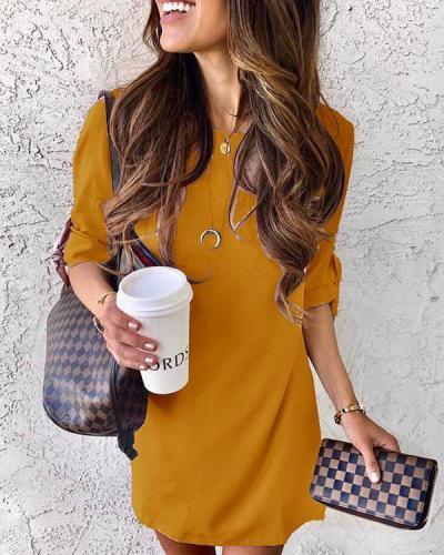 Casual Half Sleeves Knee Length Dress