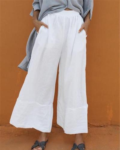 Casual Elastic Waist Folds Wide Leg Pants