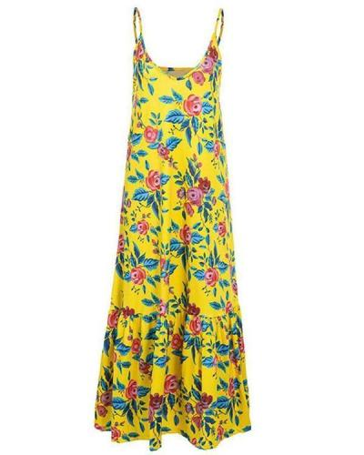 Women's Fashion Floral Printed Sleeveless Gradient Plus Size Dress