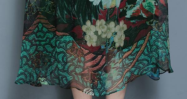 Women Vintage Printed Short Sleeve Mid-Long Dresses