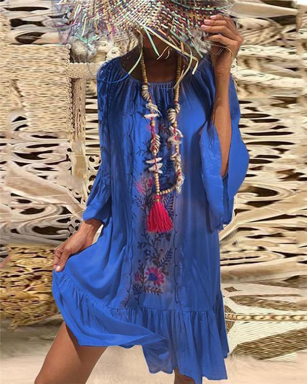 Bohemian Printed Bell Sleeves Vacation Dresses