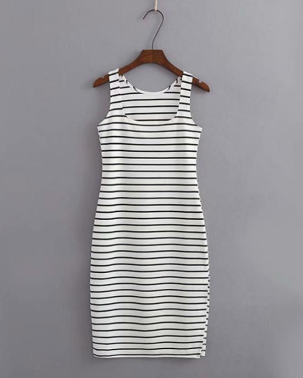 Striped Slit O-Neck Bodycon Dress
