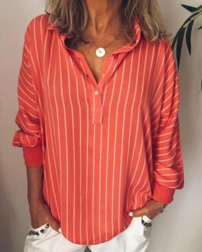 Casual Turndown Collar Striped Long Sleeve Printed Shirts