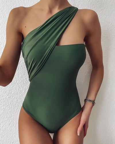 One-shoulder One Piece Swimsuit Sexy Plain Bikini