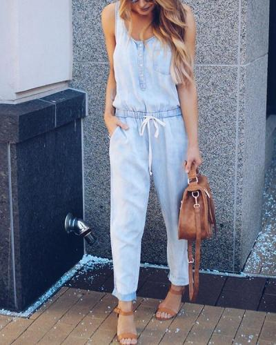 Tie Pocketed Denim Jumpsuit