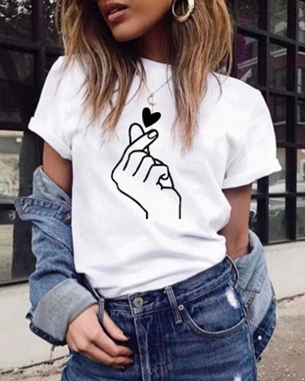 Women Love Heart Daily Shirts Tops