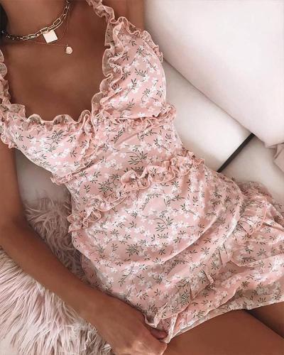 Floral Ruffle Trim Mini Dress
