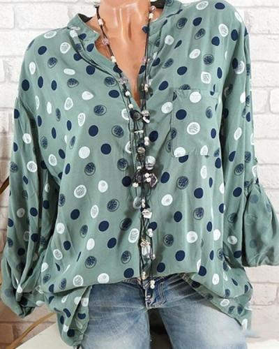 Casual Stand Collar Polka Dot Shirts