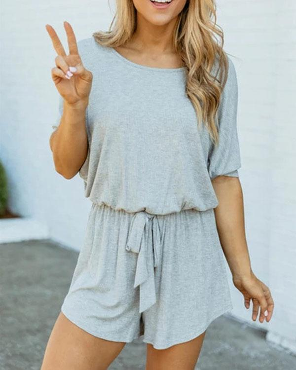 Women Solid Color Casual Summer Jumpsuit