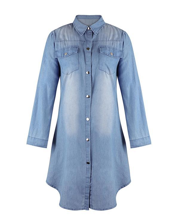 Plain Short Sleeve Long Sleeve Denim Dresses