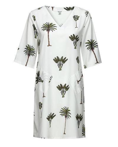 Bohemian Tree V Neck Holiday Daily Fashion Mini Dresses