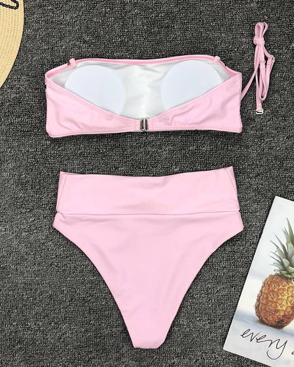 Pink Heart Sweet Knotted Bikini