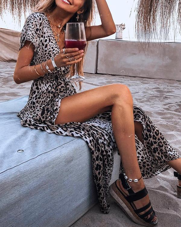 Fashion Leopard Printed V-section Short Maxi Dress