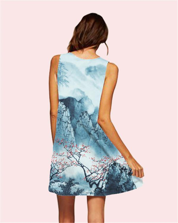 Landscape Printed Sleeveless Beach Dress