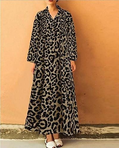 Women's Elegant Shift Leopard Printed Dress
