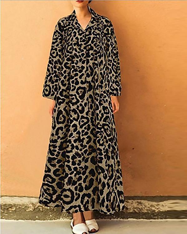 Women's Elegant Shift Leopard Printed Dress