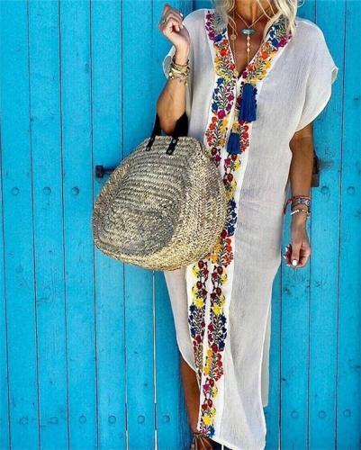 Bohemian Women V Neck Chic Casual Midi Dress