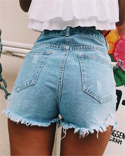 Women's Classic Split Side Denim Shorts Pants