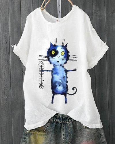 Cartoon Cat Fish Bone Casual T-shirt For Women