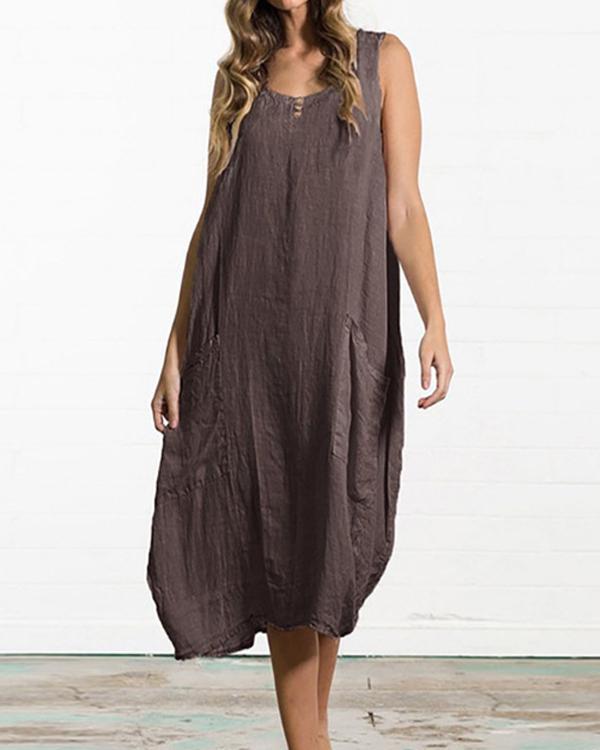 Women Summer Loose Solid Color Pocket Sleeveless Dress