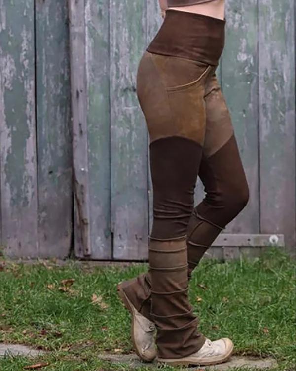 Women's Retro High Waist Stitching Stretch Leggings Pants