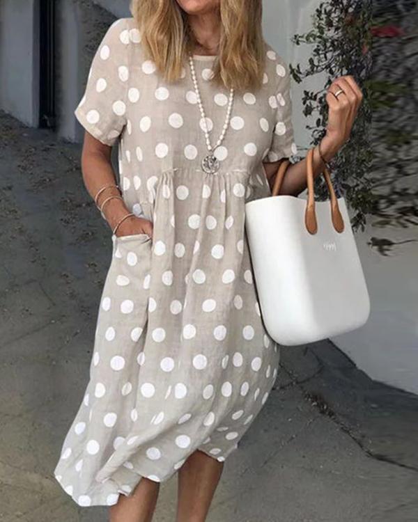 Women Polka Dots Pockets Casual Summer Dresses