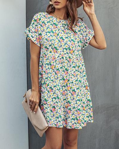 Spring Women Printed A-line Mini Dresses