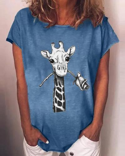 Women Plus Size Animal Crew Neck Vintage Shirts & Tops