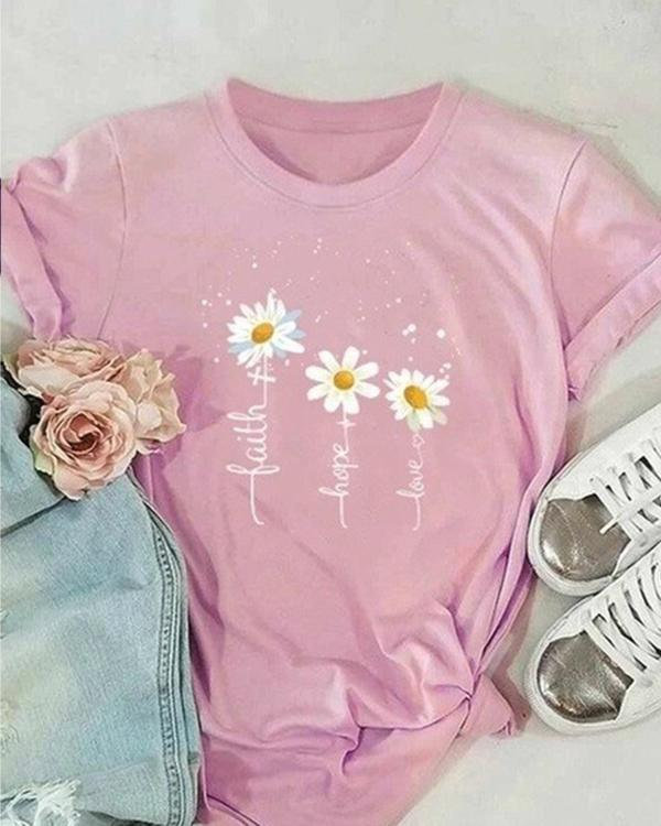 Casual Short Sleeve Flower Shirts & Tops