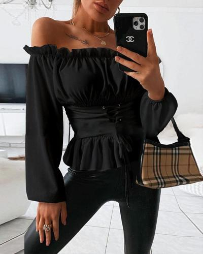 OFF SHOULDER LACE-UP FRONT CASUAL BLOUSE