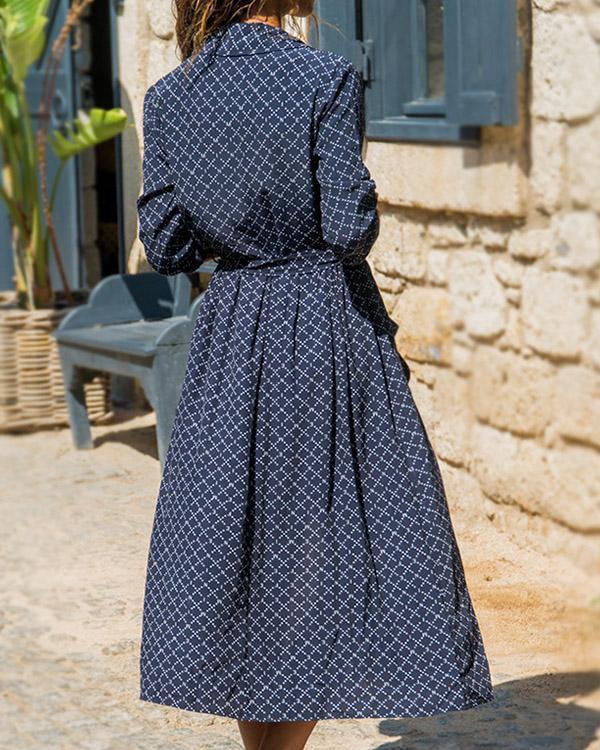 Casual Chiffon Color Block Pockets Shirt Maxi Dress