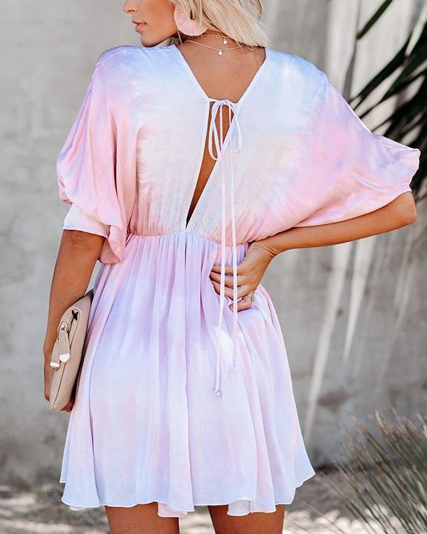 New Tie Dye V-Neck Bat Sleeve Swing Mini Dress